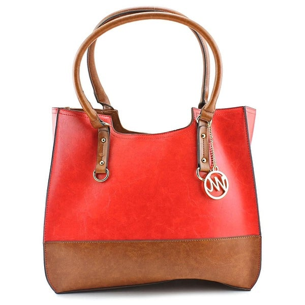 Emilie M. Kiley Two Tone Tote Women Leather Tote - Red