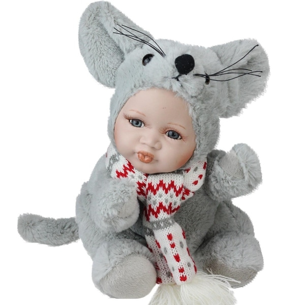 """9"""" Porcelain Pucker Up Baby in Mouse Costume Collectible Christmas Doll"""