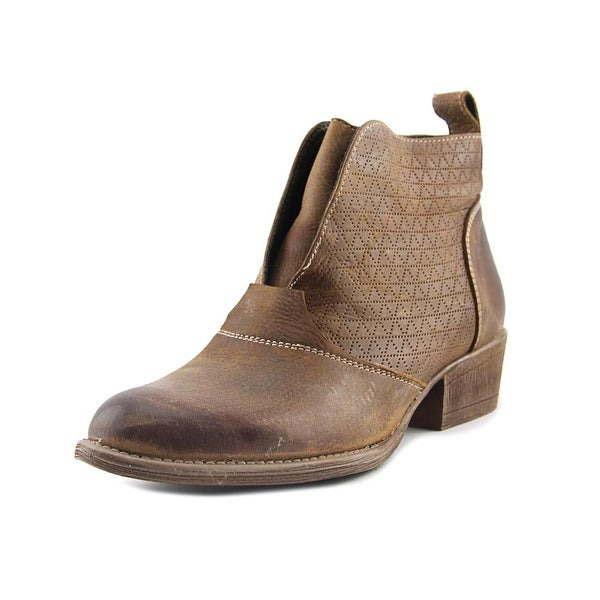 Roan Rosebud Women Round Toe Leather Brown Ankle Boot