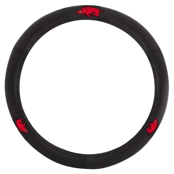 Pilot Automotive Black Leather University of Arkansas Razorbacks Car Auto Steering Wheel Cover