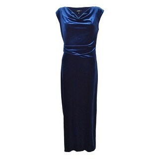 Msk Women's Draped Velvet Slit Gown - Navy