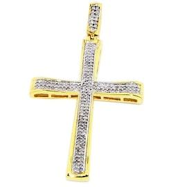 1/3cttw Diamond Cross 10K Yellow Gold Pendant 44mm Tall Pave Set Diamonds(0.33cttw)