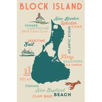 Block Island, RI - Typography & Icons - LP Artwork (Art Print - Multiple Sizes)