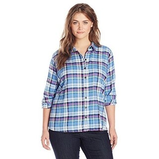 Dickies WomenS Plus-Size Long Sleeve Plaid Flannel Shirt Pl - french blue teal pink berry