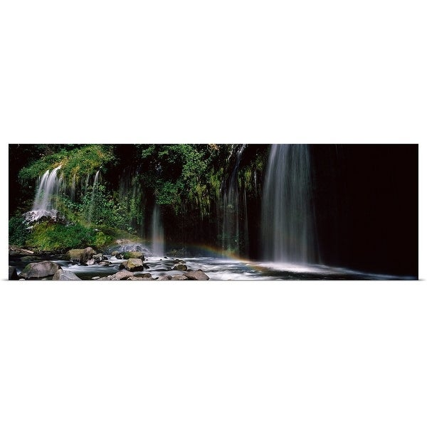 """Rainbow formed in front of waterfall in a forest, California,"" Poster Print"