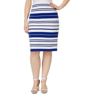 Calvin Klein Womens Plus Pencil Skirt Knit Striped