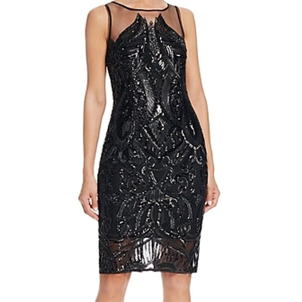 Shop Adrianna Papell New Black Womens Size 6 Sheath Illusion Sequin
