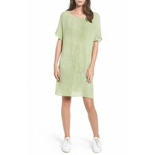 Cotton Emporium NEW Green Womens Size Small S Crinkled Gauze Shift Dress