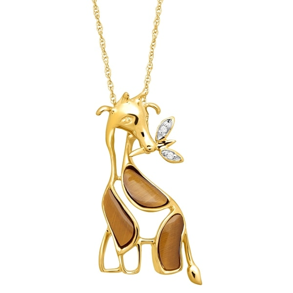 5/8 ct Natural Tiger's Eye Giraffe Pendant with Diamonds in 10K Gold