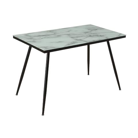Tasman White and Grey Glass Top Dining Table