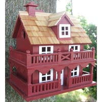 "10.75"" Fully Functional Red New England Cottage Outdoor Garden Birdhouse"