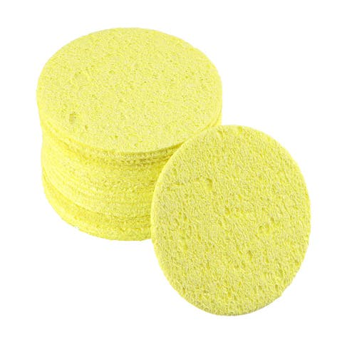 Soldering Sponge 55x55x6mm for Iron Tips Cleaner, Round Yellow 20pcs - Round 20pcs