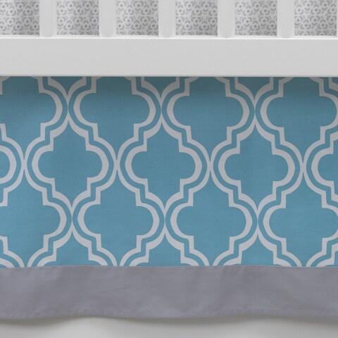 Lambs & Ivy Ryan Collection Geo Crib Skirt - Blue, Gray, Modern, Boy