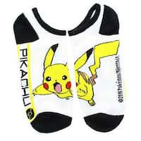 Pokemon Women's Ankle Socks, Pikachu, One Pair Size 9-11 - White