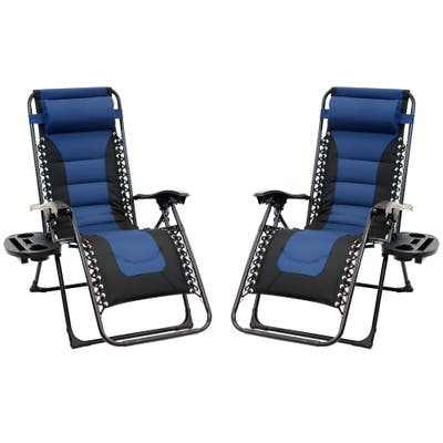 2pc Padded Zero Gravity Chair Set with Leg Stabilizers and Big Cupholder - Blue & Black