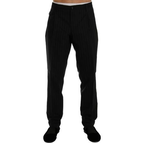 Black Striped Cotton Dress Men's Pants