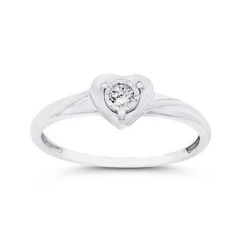 14K White Gold 1/10ct TDW Diamond Heart Promise Ring (I-J, I1)