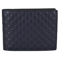 "Gucci Men's 333042 Blue Leather Micro GG Bifold Wallet W/Removable ID - 5"" x 3.75"""