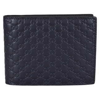 """Gucci Men's 333042 Blue Leather Micro GG Bifold Wallet W/Removable ID - 5"""" x 3.75"""""""
