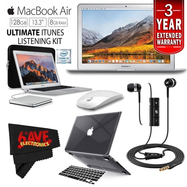 """Apple 13.3"""" MacBook Air 128GB SSD + iBenzer Basic Soft-Touch Series Plastic Hard Case & Keyboard Cover - Black Bundle"""