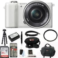 Sony Alpha a5000 SLR Camera w/ UV Protector & 32GB SDHC Acc Bundle (White)