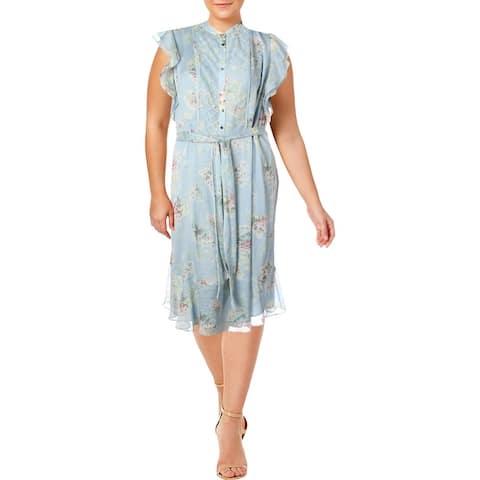 Lauren Ralph Lauren Womens Plus Janevra Midi Dress Floral Ruffled - Multi