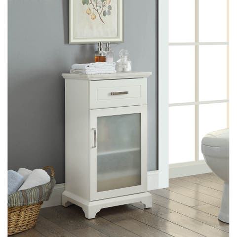 AOOLIVE Marble countertop Studer cabinet with 1 drawer 1 door-White