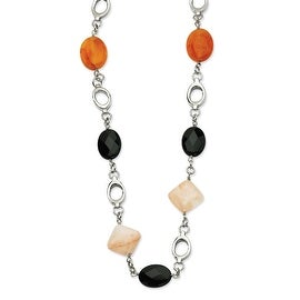 Chisel Stainless Steel Red Agate & Smoky Quartz 26 with 1 Inch Extension Necklace (18 mm) - 26 in