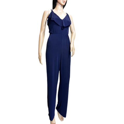 Bebe Womens Navy Blue Ruffle Trim Jumpsuit