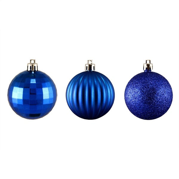 "100ct Lavish Blue 3-Finish Shatterproof Christmas Ball Ornaments 2.5"" (60mm)"