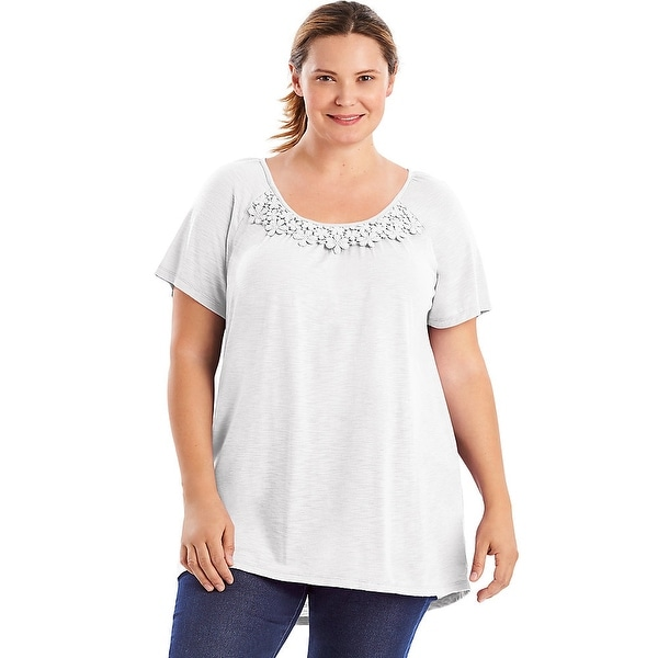 c4740c12f37d8 Just My Size Short-Sleeve Slub-Jersey Women s Tunic with Crochet ...