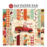 "Carta Bella Double-Sided Paper Pad 6""X6"" 24/Pkg-Fall Break, 12 Designs/2 Each"