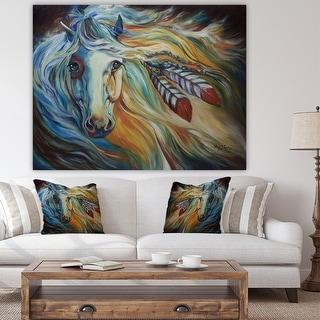 Porch & Den 'Breaking Dawn Indian War Horse' Cottage Canvas Art Print