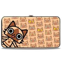 Merarou Black Grays + Airou Browns Pose Expressions Hinged Wallet - One Size Fits most