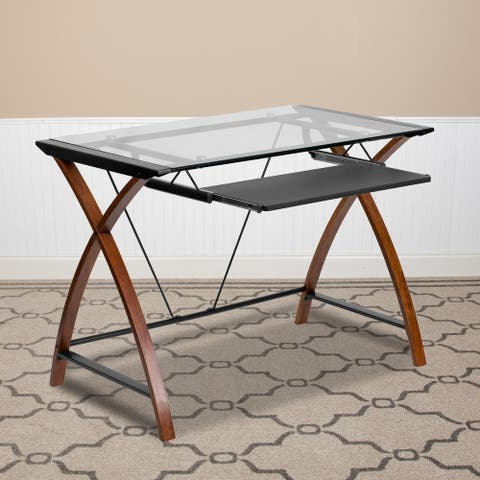 Glass Computer Desk with Pull-Out Keyboard Tray and Crisscross Frame