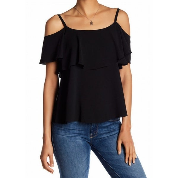 28caa9f8c9c1a Shop Bobeau NEW Black Women s Size Large L Cold-Shoulder Ruffle Blouse -  Free Shipping On Orders Over  45 - Overstock.com - 18738334