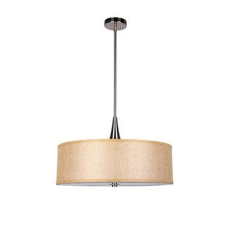 Fabric Beige 3-Light Drum Pendant Chandelier