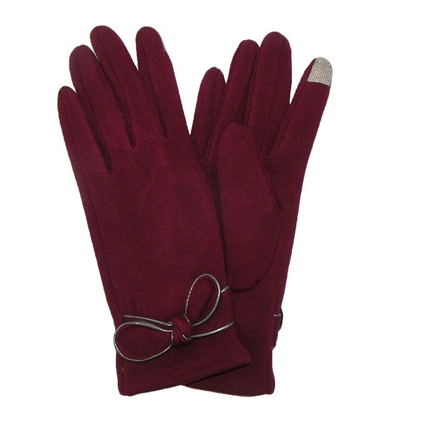 David & Young Women's Jersey Knit Winter Texting Glove with Bow