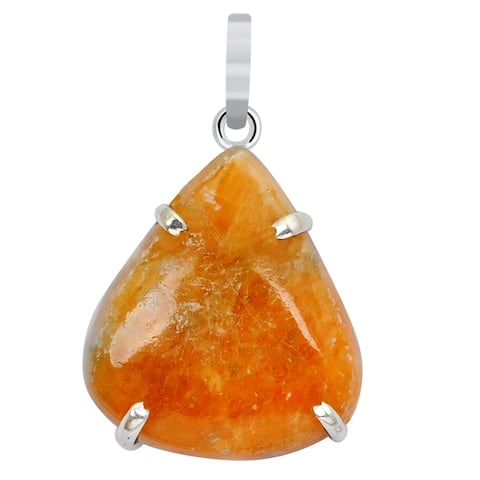 Jasper Sterling Silver Pear Chain Pendant by Orchid Jewelry