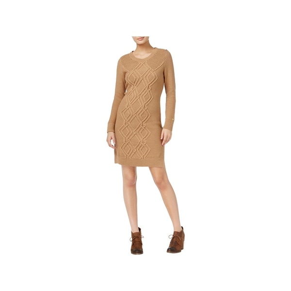 b983934327 Shop Tommy Hilfiger Womens Adela Sweaterdress Cable Knit Colorblock ...