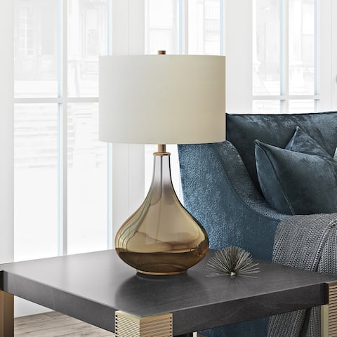 Miroir Table Lamp in Golden Ombre Colored Glass with Linen Shade