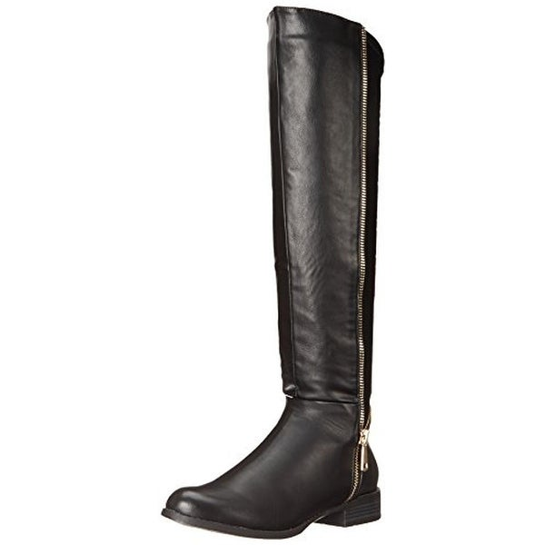 Luichiny Womens Phone Booth Riding Boots Faux Leather Knee High