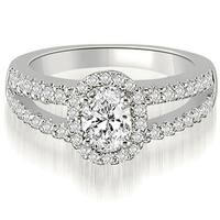 1.45 cttw. 14K White Gold Halo Split-Shank Oval & Round Diamond Engagement Ring