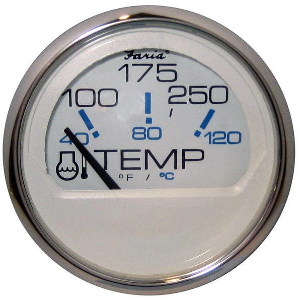"Faria Chesapeake White SS 2"" Water Temperature Gauge (100-250 DegreeF)"