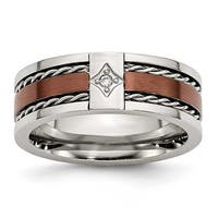Chisel Stainless Steel Chocolate IP Plated with Diamond 8mm Band