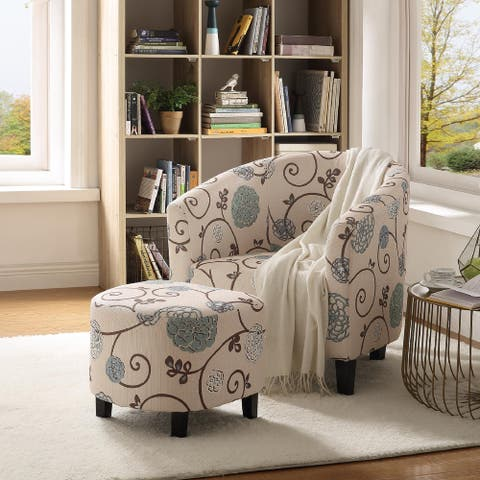 Accent Retro Living Room Chair with Ottoman
