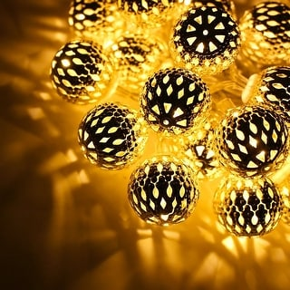 Link to 10ft 20 Hollow Balls LED Christmas String Lights, Warm White, Battery Operated Similar Items in Christmas Decorations