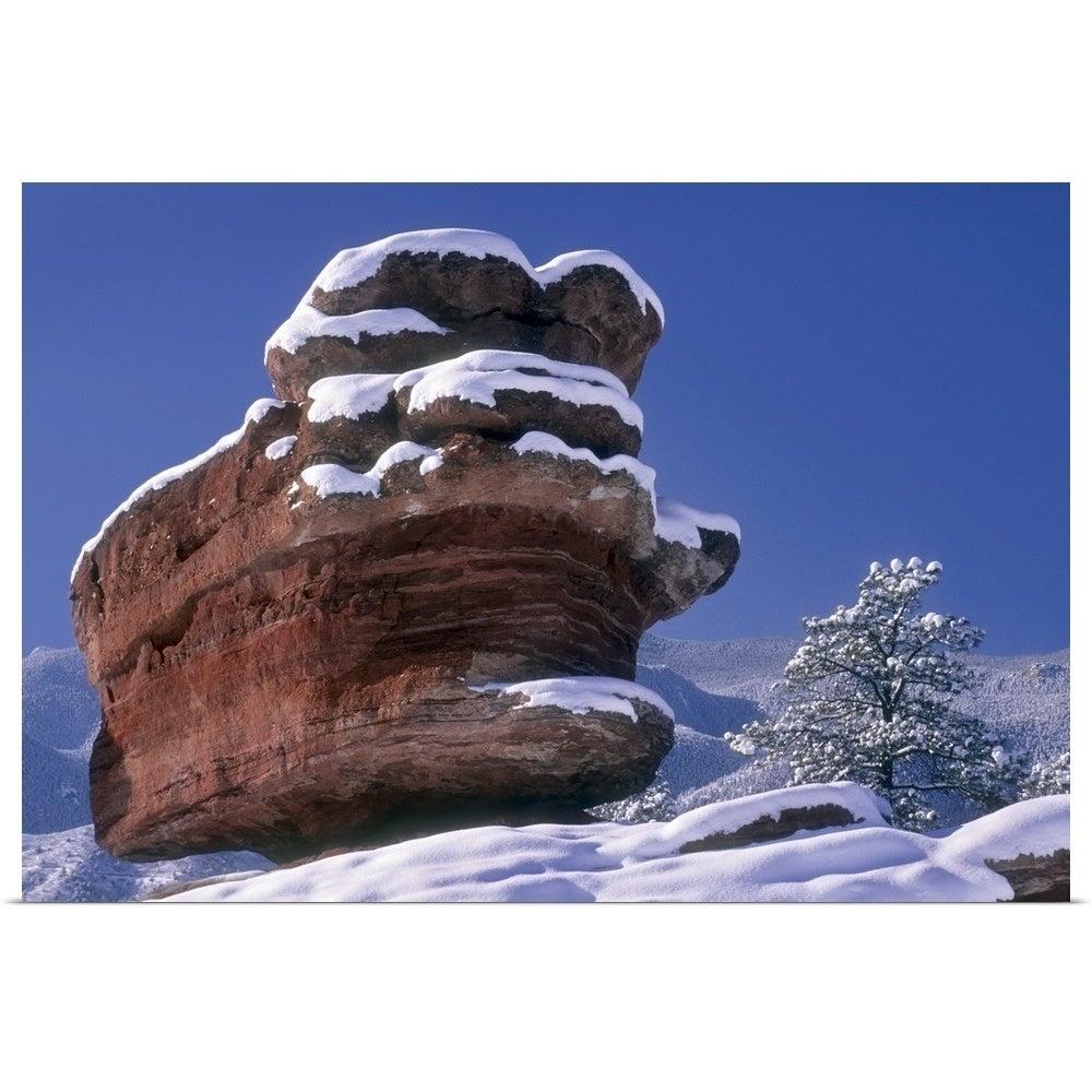 Garden Of The Gods With Balanced Rock In Fresh Snow Colorado Springs Colorado Poster Print