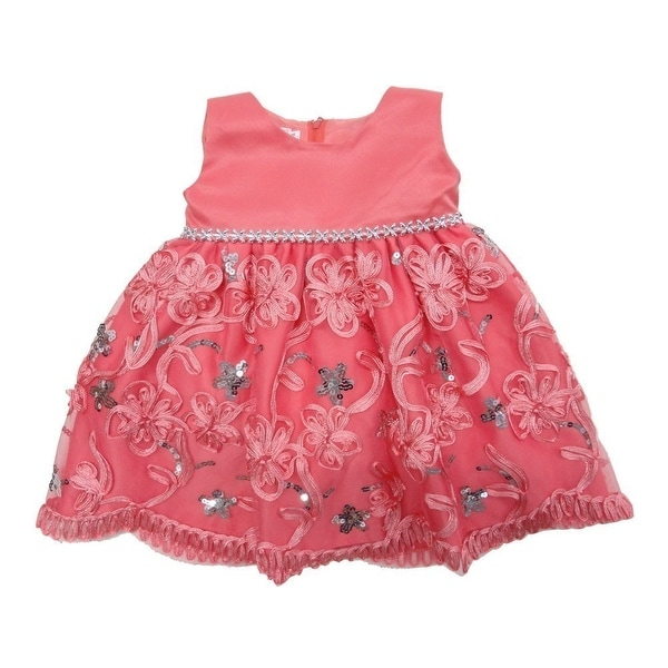 Baby Girls Coral Glitter Sequin Embroidered Flower Girl Dress