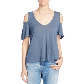 Free People Womens Bittersweet Casual Top Linen Blend Cold Shoulder